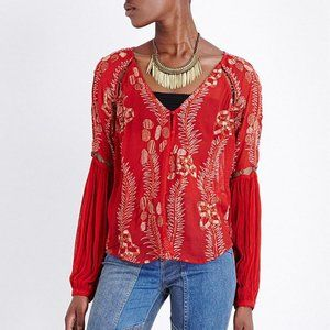 NWT Free People Firecracker Red Embroidered Blouse